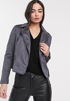 French Connection aimee suedette biker jacket-Black