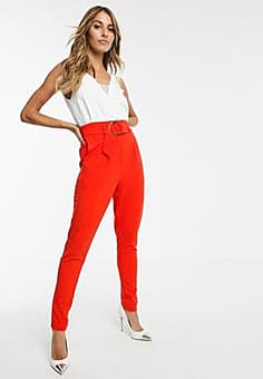Girl In Mind belted tapered trousers-Orange
