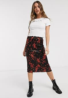 Influence split front midi skirt in multi-Black
