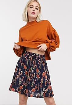 Just Female Tia skirt in blue floral-Navy