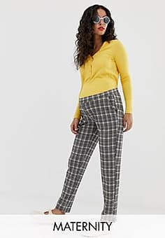 Mama.licious Mamalicious jersey check relaxed trousers-Multi