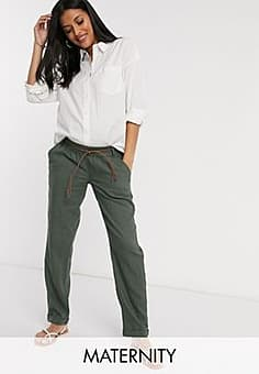 Mama.licious Mamalicious Maternity relaxed cargo trousers in khaki-Green