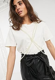 Milk It vintage tshirt with double pearl string trim-White