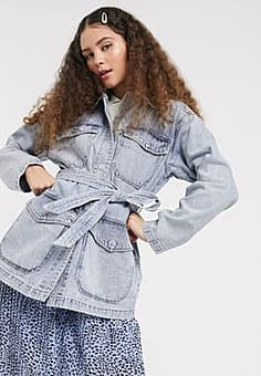 Monki tie waist denim utility jacket in bleach blue