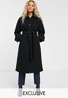 Monki tie waist midi coat in black