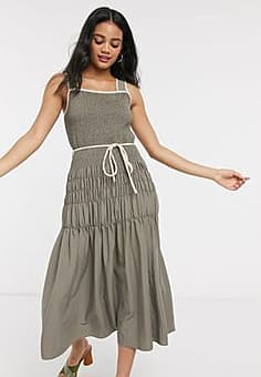 Moon River ruched midi dress with rope tie in dark olive-Beige