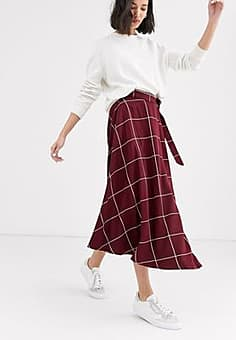 Native Youth midaxi wrap skirt in grid check-Red