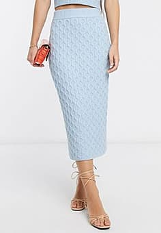 Native Youth midi pencil skirt in cable knit co-ord-Blue