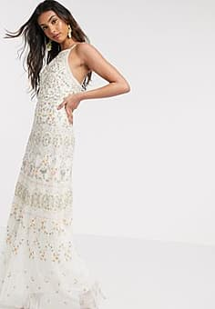 Needle & Thread embroidered cami maxi dress gown in ivory-White