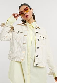 Noisy May denim jacket in ecru-Cream