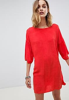 NYTT Sophie Trumpet Sleeve Mini Dress-Red