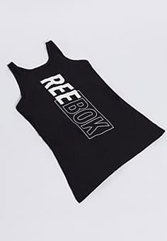 Reebok Training logo tank with strappy back in black