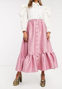 sister jane button front midaxi skirt with peplum hem in jacquard-Pink