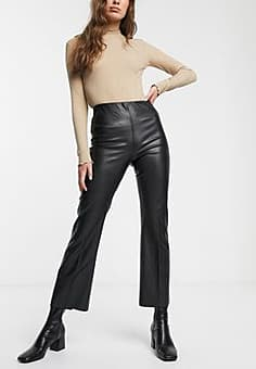 Soaked in Luxury faux leather flared trousers-Black