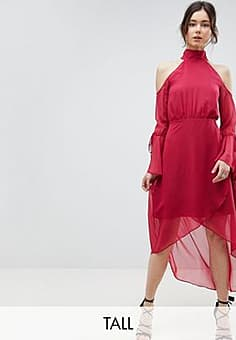 True Decadence Premium Cold Shoulder Wrap Front Midi Dress With Fluted Sleeve Detail-Pink
