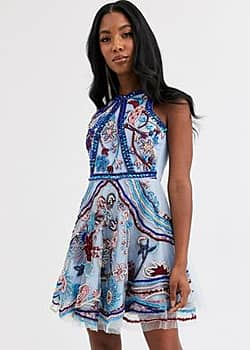 A Star Is Born floral embellished skater dress-Multi