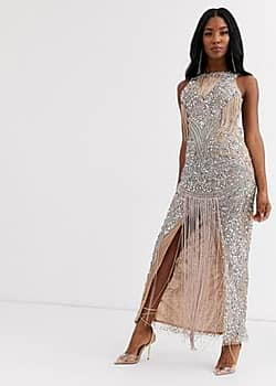 A Star Is Born fringe embellished maxi dress-Multi