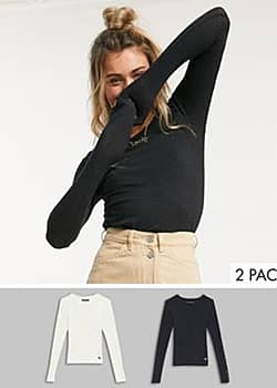 Abercrombie & Fitch 2 pack long sleeve t-shirts in multi