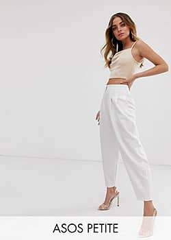 ASOS ASOS DESIGN Petite extreme tapered 80s trousers in white