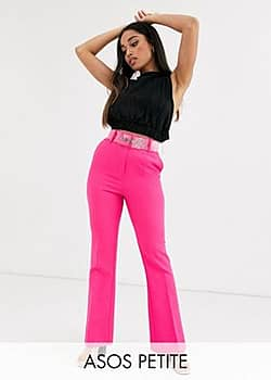 ASOS ASOS DESIGN Petite pop pink slim kick flare trousers with clear belt