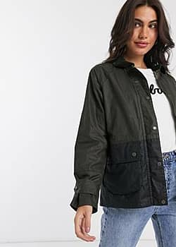 Barbour Robyn wax jacket in green with navy panel