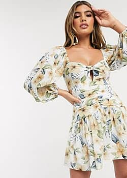 Bec & Bridge fleurette floral mini dress with balloon sleeves in print-Multi