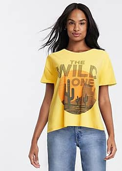 Blend She the sild one slogan t-shirt in yellow