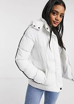 Brave Soul hop padded coat with stripe sleeves-White