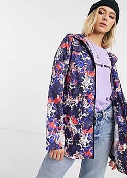 Brave Soul rain mac with hood in abstract camo-Multi