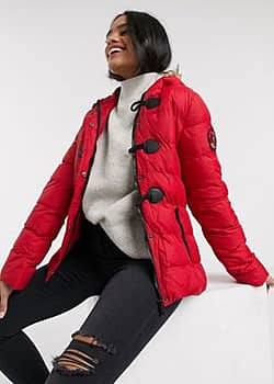 Brave Soul wizard padded coat with faux fur trim hood-Red