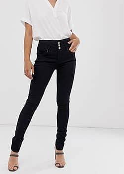 b.Young button front skinny jeans-Black