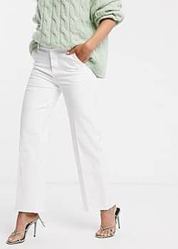 b.Young Forever raw hem wide leg jeans-Cream