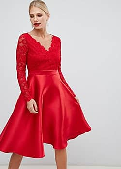 City Goddess prom dress with lace sleeves-Red