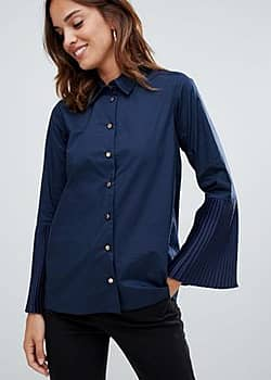 Closet London pleated cuff shirt-Navy