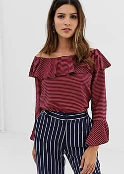 Closet London Closet Ruffle Neck Off-the -Shoulder Blouse-Multi