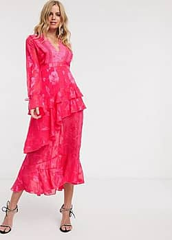 Dark Pink plunge front midi dress with frill detail in fuchsia pink