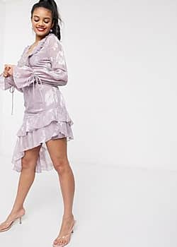 Dark Pink plunge front mini dress with frill in lilac-Purple