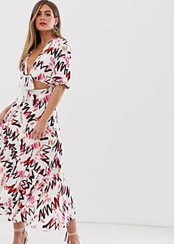 Dark Pink tie front asymmetric midaxi dress in abstract print-Multi