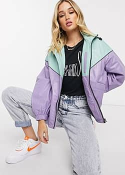 Pepe Jeans Dua Lipa x leather colourblock windbreaker in lilac-Multi