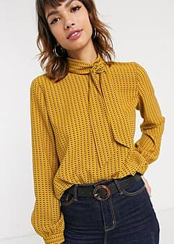 Esprit tile print pussybow blouse in amber-Brown