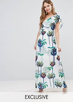Every Cloud Hazey Palm Print One Shouder Maxi Dress-Multi