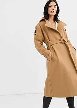 Fashion Union belted wrap coat-Beige