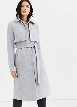 Fashion Union longline belted coat with cape detail-Grey