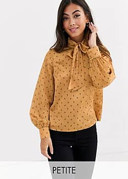 Fashion Union bow front blouse in yellow floral satin