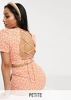 Fashion Union crop top with lace up back in floral co-ord-Orange