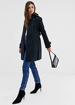 Fashion Union smart longline double breasted coat-Navy
