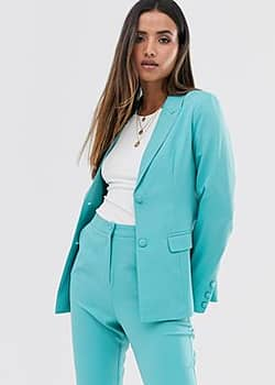 Fashion Union structured blazer co-ord-Blue
