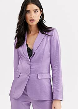 Fashion Union tailored blazer coord with pocket detail in metallic jacquard-Purple