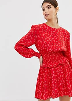 Finders Keepers long sleeve flippy dress in ditsy print-Red