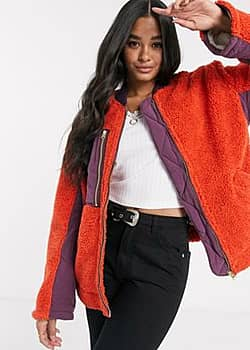 Free People Rivington sherpa style jacket with contrast utility pocket-Red